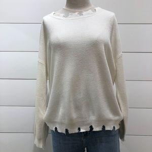 Honey Punch Destroyed Hem Ribbed Sweater